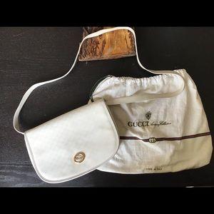 Vintage White Monogram Gucci Saddle Crossbody Bag